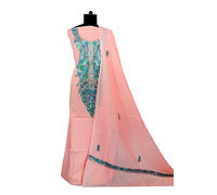 Kashmiri Pure Cotton Embroidered Peach Color Suit With Dupatta