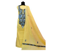 Kashmiri Pure Cotton Neck Embroidered Yellow Suit With Dupatta