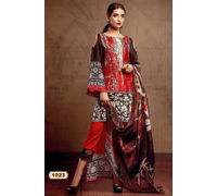 Pakistani Pashmina Red Black Embroidered Suit With Shawl