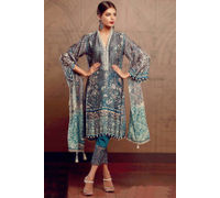 Pakistani Pashmina Sea Green Embroidered Suit With Shawl