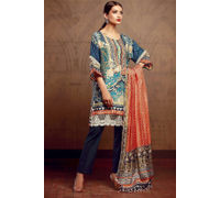 Pakistani Pashmina Sea Green Peach Embroidered Suit With Shawl
