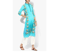 Shree Aqua Blue Embroidered kurta