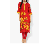 Shree Cotton Red Embroidered kurta