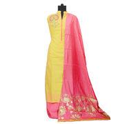 Yellow Magenta Maheshwari Suit With Modal Khadi Work Dupatta