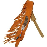 SG Musical Leathers Guitar Strap, suede leather guitar strap with American Indian leather appliqué and embroidery design