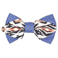 Tiekart men multi linen+cotton knotted 2-in-1 double bow tie