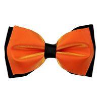 Tiekart men orange plain solids knotted double bow tie
