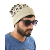 Tiekart men brown polka dot woollen winter caps