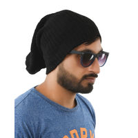 Tiekart men black  woollen winter caps