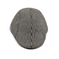 Black and White Houndstooth Golf Cap With Ear Flaps for Men