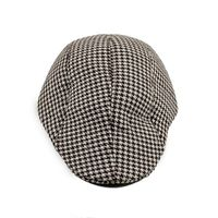 Brown and White Houndstooth Golf Cap With Ear Flaps for Men
