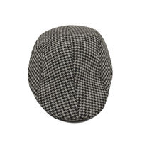 Grey and White Houndstooth Golf Cap With Ear Flaps for Men
