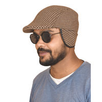 Brown Houndstooth Golf Cap With Ear Flaps for Men
