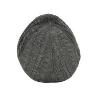 Grey Self Design Woolen Warm Golf Cap for Men