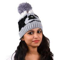 Tiekart women grey floral wollen cap