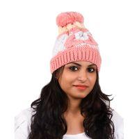 Tiekart women pink floral wollen cap