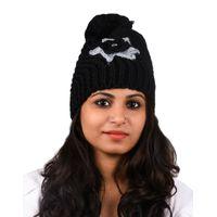 Tiekart women black floral wollen cap