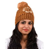 Tiekart women brown floral wollen cap