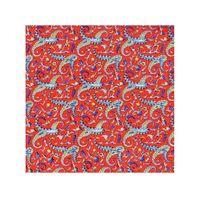 Tiekart men red paisley printed silk pocket square