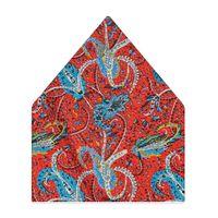 Tiekart men multi paisley printed silk pocket square
