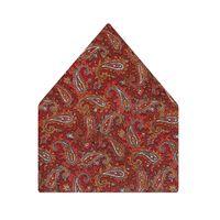Tiekart men orange paisely silk pocket square