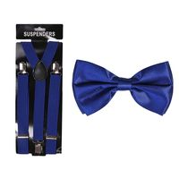 Tiekart cool combos blue plain solids  bow tie+suspenders