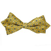 Tiekart men yellow   knotted double diamond bow tie