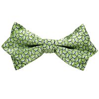 Tiekart men green knotted double diamond bow tie