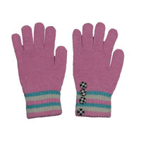 Tiekart women pink striped woollen gloves