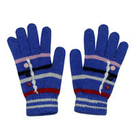 Tiekart women blue striped woollen gloves