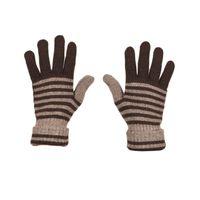 Tiekart men brown striped woollen gloves