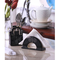 Hand Crafted Ceramic Black Spiral Cutlery Holder Set