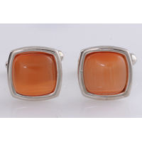Tiekart men orange stone overlaid  cufflink