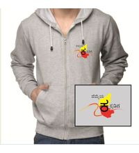 Hemmeya  kannadiga grey colour sweatshirt withzip
