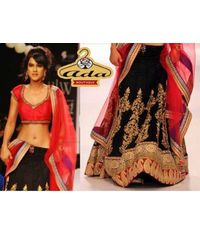 Nia Sharma Stylish Black Replica Lehenga
