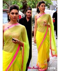Deepika Padikone Glamourous Neon Saree