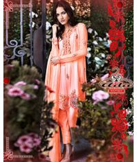 Stylish Peach Floral Embroidered Dress