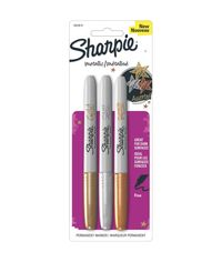 Gold, Silver & Bronze Sharpie Metallic Fine Point Permanent Markers 3/Pkg