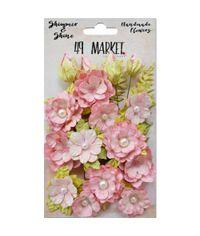 """Blush Melange Shimmer & Shine Flowers 1""""-1.5"""" 19/Pkg"""