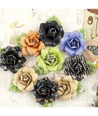 """Paper Succulent Flowers 2"""" W/Leaf, 9/Pkg"""