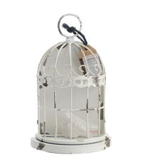 "Metal Birdcage - Antique White 7.8""X5.5""X2.75"""