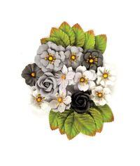 Black Marble Flowers Rose Quar