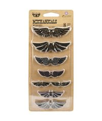 Winged 8/Pkg - Metal Embellishments