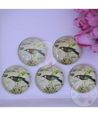 Small Round Glass Cabochon - Bird with Branch