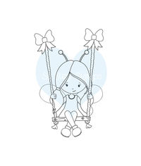Girl on a Swing - Stamp
