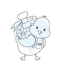 Chicky With Egg - Stamp