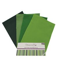 Green Felt A4 Sheets Multipack