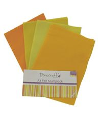 Yellow Felt Sheets A4 Multipack
