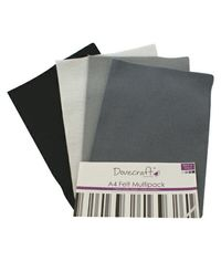 Black Felt A4 Sheets Multipack