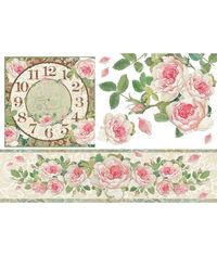 Clock with Roses - Decoupage Rice Paper